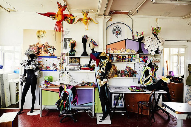 British designer Fred Butler's work is often graphic and sculptural; here, his studio is decorated with bright colors drawn in angular sharp lines
