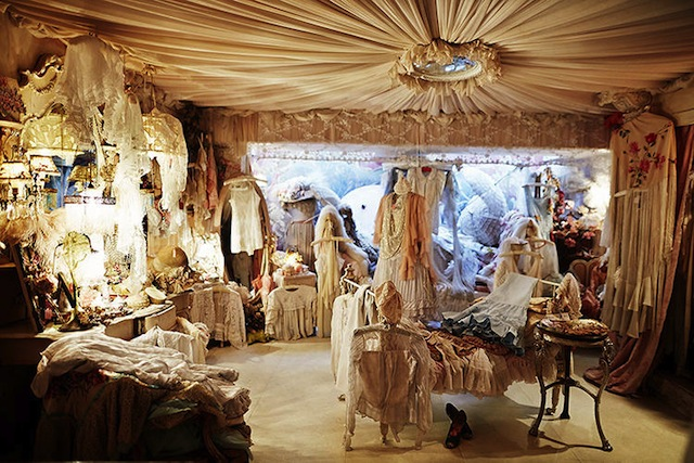 Virginia Bates luxe London vintage store was outfitted like an old French boudoir (her boutique closed late in 2013, after Selby's visit)