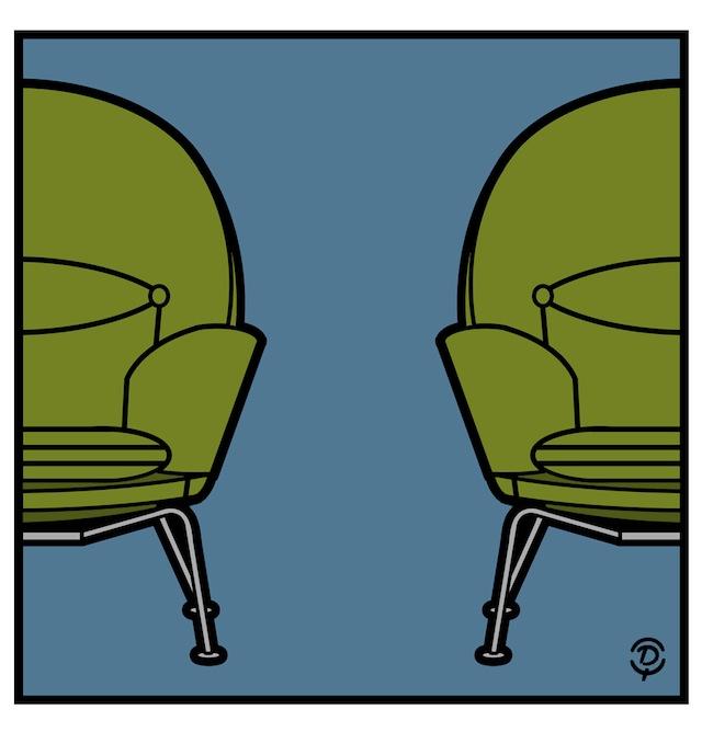 Delius dessinateur Hans J.WEGNER 1960 Fauteuil CH468 dessin original couleur