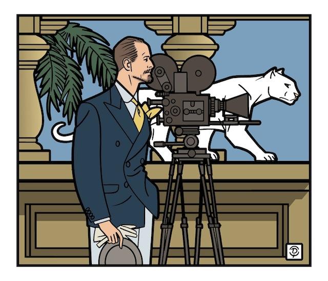 Delius dessinateur portrait de Burton Holmes dessin en couleur
