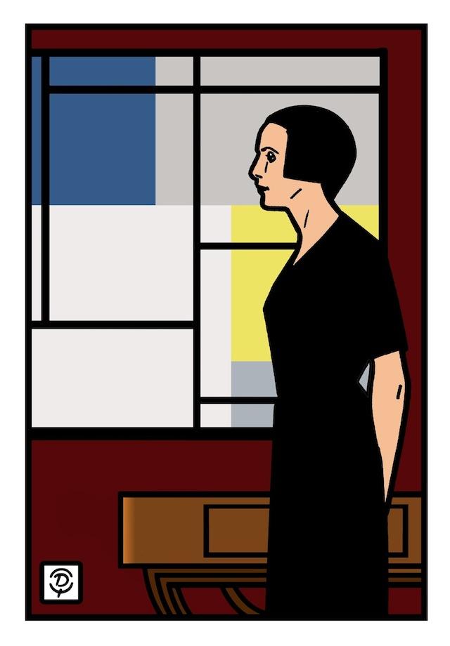 Delius dessinateur portrait de Nelly Van Doesburg Composition XXIV Dessin couleur